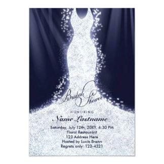 """La falsa ducha nupcial del vestido de boda del invitación 5"""" x 7"""""""