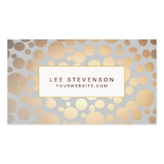 La falsa hoja de oro elegante circunda gris claro tarjetas de visita