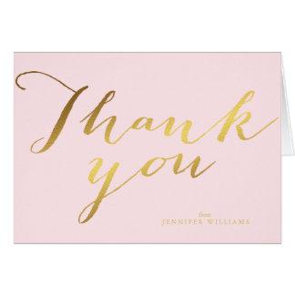 La falsa hoja de oro elegante le agradece las tarjeta pequeña