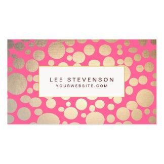 La falsa hoja de oro femenina circunda rosa plantillas de tarjetas personales