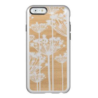 La falsa madera de plata florece el estampado de funda para iPhone 6 plus incipio feather shine