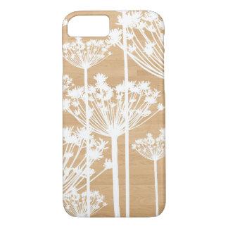 La falsa madera florece el estampado de flores funda iPhone 7