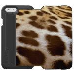 La falsa piel de Jaguar mancha el gato grande Funda Cartera Para iPhone 6 Watson