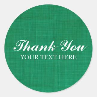 La falsa textura de lino verde le agradece pegatina redonda