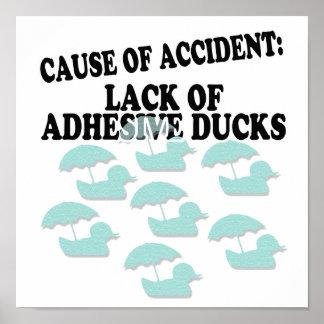 La falta de pegamento Ducks humor Póster