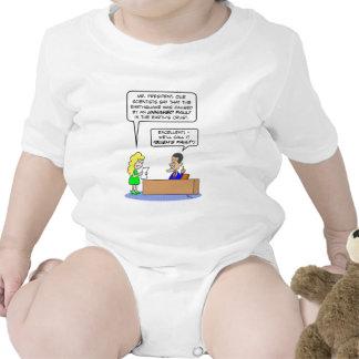 la falta del arbusto del terremoto de obama trajes de bebé