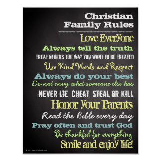 La familia cristiana personalizada gobierna la póster