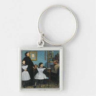 La familia de Bellelli, 1858-67 Llavero Cuadrado Plateado