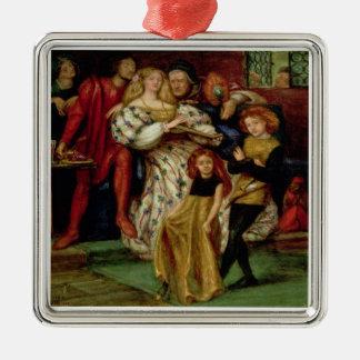 La familia de Borgia, 1863 Adorno Navideño Cuadrado De Metal
