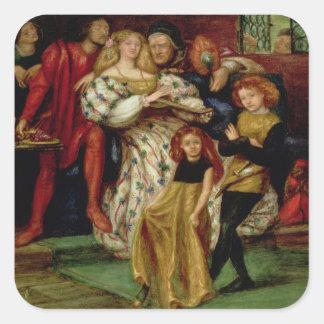 La familia de Borgia, 1863 Pegatina Cuadrada