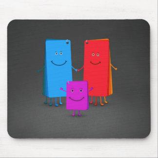 La familia de colores tapetes de ratón