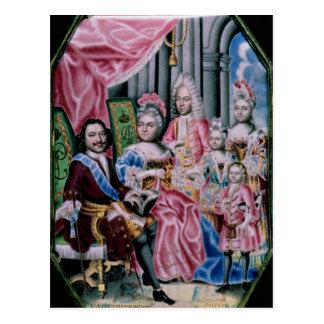 La familia de emperador Peter I, el grande, 1717 Postal
