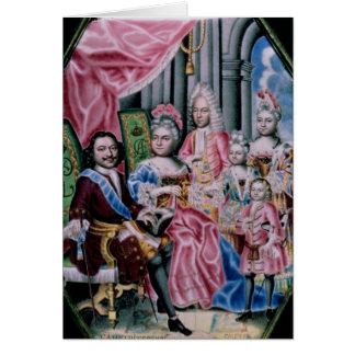 La familia de emperador Peter I, el grande, 1717 Tarjeta De Felicitación