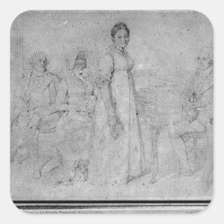 La familia de Forestier, 1806 Pegatina Cuadrada