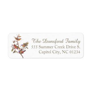 La familia de golpe ligero pintada de Audubon de Etiquetas De Remite
