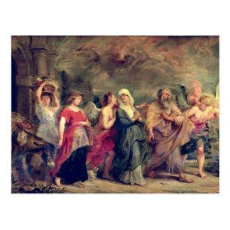 La familia de la porción que sale de Sodom, 1625 Tarjeta Postal