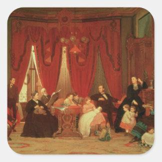 La familia de la portilla, 1870-71 pegatina cuadrada