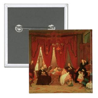 La familia de la portilla, 1870-71 pin cuadrado