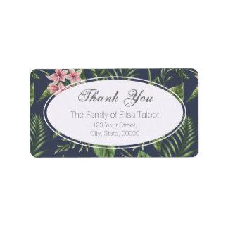 La familia de las flores le agradece etiqueta de etiquetas de dirección