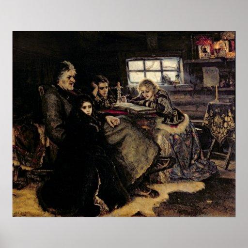 La familia de Menshikov en Beriozovo, 1883 Póster