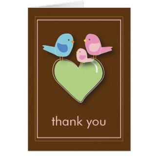 La familia de pájaro dulce le agradece Notecard Tarjeta Pequeña
