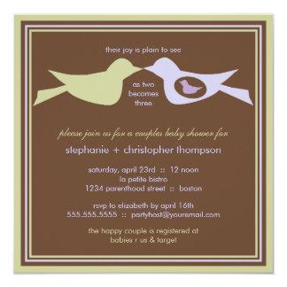 """La familia de pájaro junta la lila y el sabio de invitación 5.25"""" x 5.25"""""""