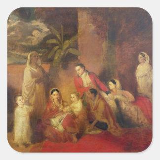 La familia de Palmer, 1785 Pegatina Cuadrada