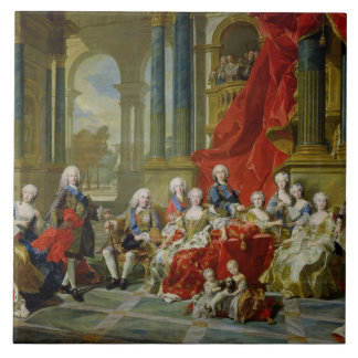 La familia de Philip V, 1743 (aceite en lona) Azulejo Cuadrado Grande