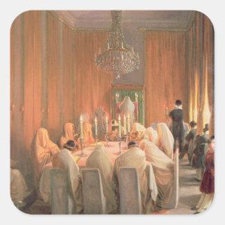 La familia de Rothschild en el rezo Pegatina Cuadrada