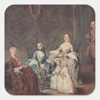 La familia de Sagredo de Pietro Longhi Calcomanía Cuadrada