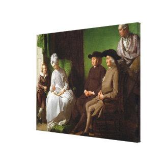 La familia del artista (aceite en lona) 2 impresión en lienzo estirada
