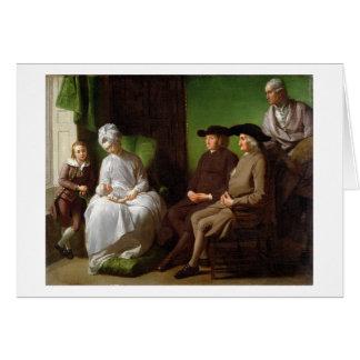 La familia del artista (aceite en lona) tarjeta de felicitación