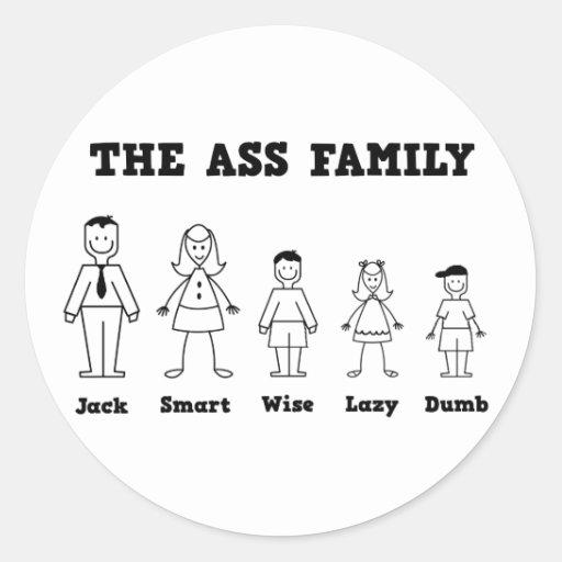 La familia del asno pegatina redonda
