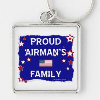 La familia del aviador orgulloso llavero cuadrado plateado