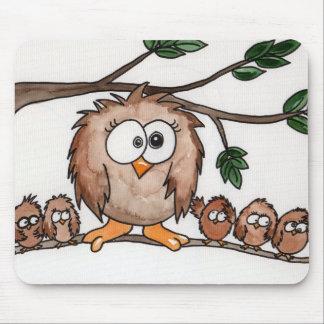 La familia del búho mouse pad