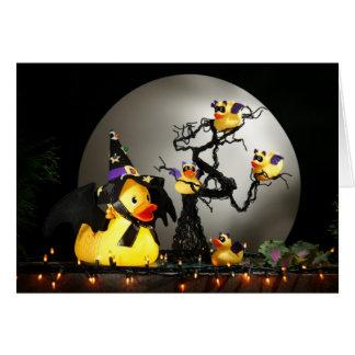 La familia del pato del palo de Halloween Tarjeton