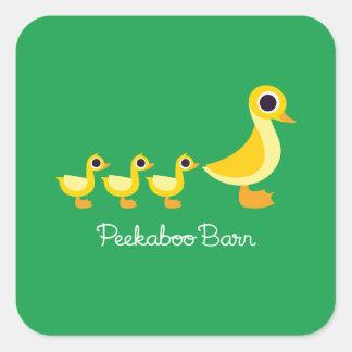 La familia del pato pegatina cuadrada
