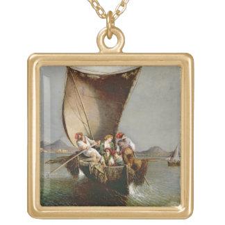 La familia del pescador (aceite en lona) colgante cuadrado