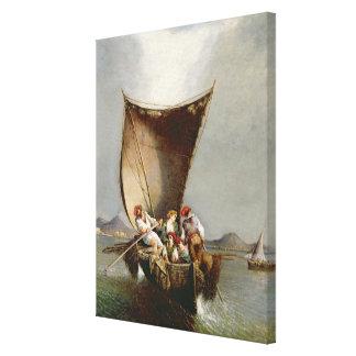 La familia del pescador (aceite en lona) impresión en lienzo estirada