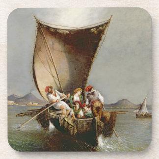 La familia del pescador (aceite en lona) posavasos de bebida