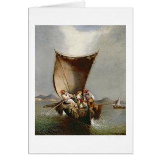 La familia del pescador (aceite en lona) tarjeta de felicitación