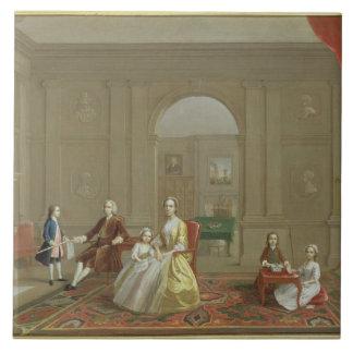 La familia del tocino de Juan, c.1742-43 (aceite e Azulejo Cuadrado Grande
