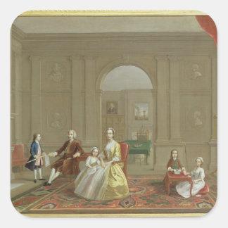 La familia del tocino de Juan, c.1742-43 (aceite Pegatina Cuadrada