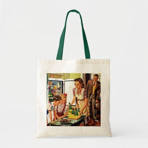La familia del vintage en el papá de la mamá de la bolsa tela barata