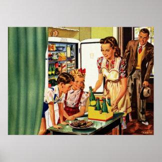 La familia del vintage en el papá de la mamá de la póster