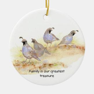 La familia es nuestro tesoro más grande codorniz ornamentos de navidad