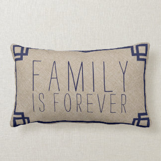 La familia es para siempre el falso lino beige y cojines
