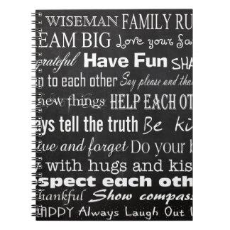 La familia gobierna el cuaderno personalizado
