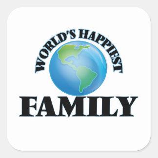La familia más feliz del mundo pegatina cuadrada