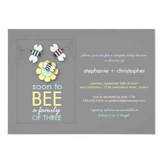 "La familia moderna a la abeja junta la fiesta de invitación 5"" x 7"""